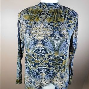 Free People Lace Design Open Long Sleeve Top. XS
